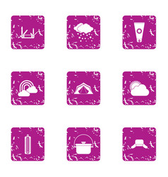 Meteorological observation icons set grunge style vector