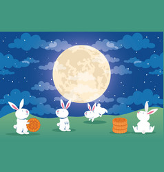 Mid autumn festival poster with rabbits and full vector
