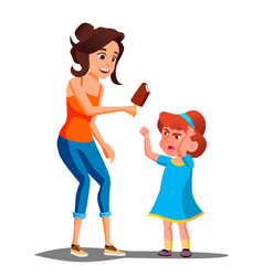 mother gives ice cream to a crying child vector image