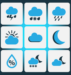 Nature colored icons set collection of night vector