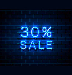 Neon 30 sale text banner night sign vector