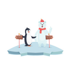 north south pole signs polar bear and penguin vector image