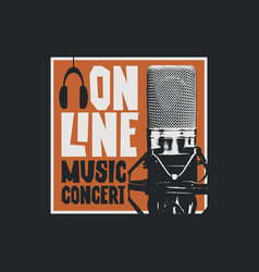 online music poster with a studio microphone vector image