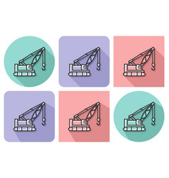 outlined icon of tractor crane with parallel and vector image