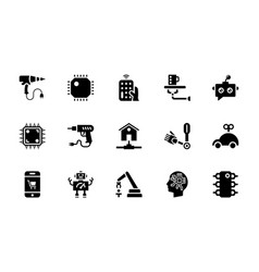 pack of artificial intelligence glyph icon vector image