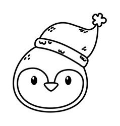Penguin face with hat celebration merry christmas vector