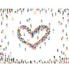 people heart sign happy group life vector image