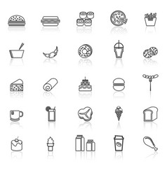Popular food line icons with reflect on white vector