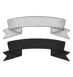 Ribbon banner hand drawn sketch vector