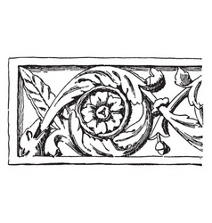 rinceau carved from vaison vintage engraving vector image