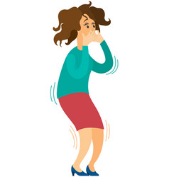 Scared young woman is covering her mouth vector