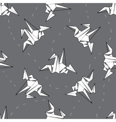 seamless background white origami crane on vector image