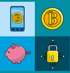Security digital information to bitcoin currency vector
