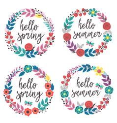 set isolated floral frames vector image