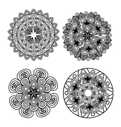 set mandala art decorative icon vector image