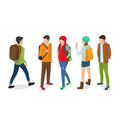 Set of boys girls with rucksacks back front view vector