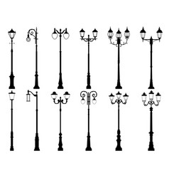 set of silhouettes of lamppost vector image