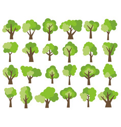 Set of twenty four different cartoon green trees vector