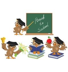Set Owl teacher Back to School vector