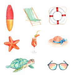 Set watercolor equipment hand-drawn summer vector