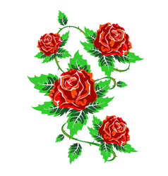Several red roses with leaves vector