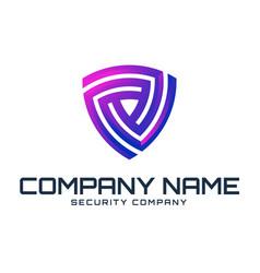 Shield purple logo template vector