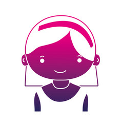 Silhouette happy girl with hairstyle and headband vector