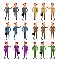 Smiling businessman shows the thumb up vector image