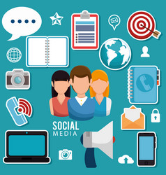 social media community characters vector image