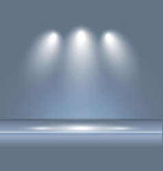 spotlight gray blue light rays room studio vector image