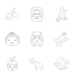 Stone age set icons in outline style Big vector image