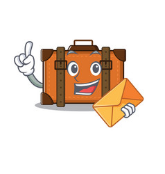 Suitcase bring envelope in cartoon with mascot vector