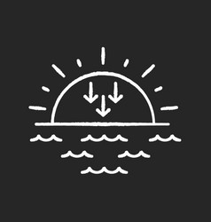 Sunset chalk white icon on black background vector