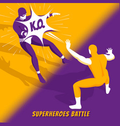 Superhero battle isometric vector