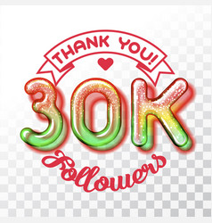 thank you 30k followers vector image vector image