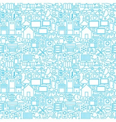 Thin Smart House Line Seamless White Pattern vector image