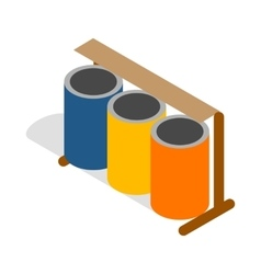 Three colorful selective trash cans icon vector image