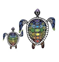 Tortoise family zentangle for your design vector