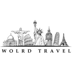 travel destinations-famous places nyc london vector image