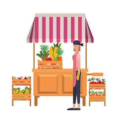 Vegetable seller woman with kiosk isolated icon vector