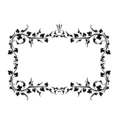 vintage black frame with crown and with blank vector image