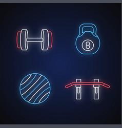 weight training neon light icons set vector image