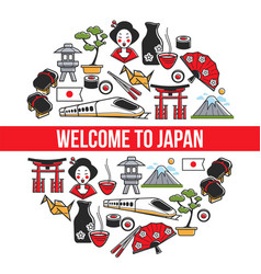 Welcome to japan traveling japanese symbols vector