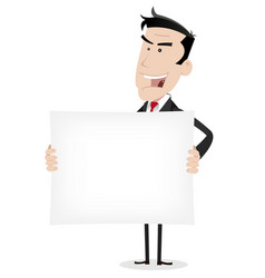 White businessman holding advertising message vector
