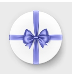 White Gift Box with Violet Satin Bow and Ribbon vector