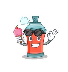 With ice cream aerosol spray can character cartoon vector