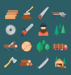 Woodcutter icon set vector