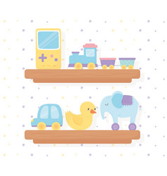 wooden shelves with train duck elephant car vector image