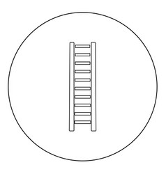 Wooden step ladder icon black color in circle or vector