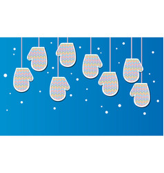 woolen mittens from a multi-colored yarn banner vector image